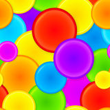 Vibrant rainbow plastic circles seamless pattern. Vibrant rainbow plastic circles vector seamless pattern royalty free illustration