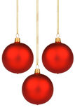 Vibrant red Christmas Baubles on gold thread Stock Image