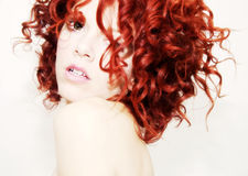 Vibrant Red  Curls. Portrait of a  young woman with vibrant, red curly hair Royalty Free Stock Image