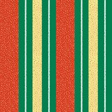 Vibrant red, gold and white dotted vertical striped design. Seamless geometric vector pattern on textured green. Background. Great for Christmas, seasonal royalty free illustration