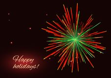 Vibrant red green fireworks background, copy space. Sparkling vibrant red green vector fireworks greeting holidays background, copy space Stock Photos