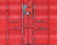 Vibrant red locker doors. Vibrant red locked shed doors form textured background pattern Stock Photography