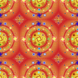 Vibrant red and orange seamless pattern. With swirls Royalty Free Stock Images