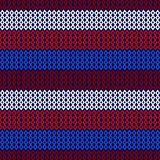 Red, White, and Blue Diamond and Chevron Seamless Pattern. Vibrant red, white, and blue diamonds and chevrons forming stripes on navy blue background seamless Stock Photos