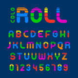 Vibrant roll alphabet and numbers with stripes Stock Image