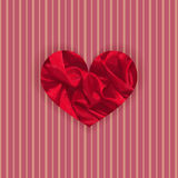 Vibrant Satin Heart. Single Vibrant Satin Heart on the Striped Retro Background. Template for Valentine Day Cards and Prints. Vector EPS 10 Stock Images
