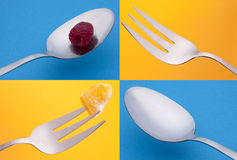 Vibrant Silverware Grouping Stock Photos