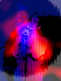 Vibrant Singer Grunge Background. An illustration of a silhouetted singer with grunge layers in vibrant colors for use in website wallpaper design, presentation Royalty Free Stock Photo