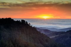 Vibrant Skies Above Foggy Pacific Ocean. In Santa Cruz Mountains. Purisima Creek Redwoods, Woodside, San Mateo County, California, USA Stock Images