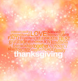 Vibrant Sparkling THANKSGIVING word cloud royalty free illustration
