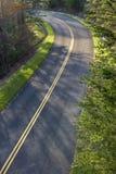 Vibrant Spring Greenery Borders Mountain Road Stock Photo