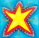 Vibrant star painting. A vibrant painting of arrows pointing to a star symbolizing success royalty free illustration