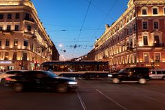 Vibrant street of Saint-Petersburg at night stock images
