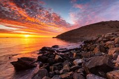 A vibrant sunrise at Encounter Bay on the Fleurieu Peninsula South Australia on 3rd April 2019. Vibrant sunrise at Encounter Bay on the Fleurieu Peninsula South royalty free stock image