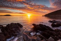 A vibrant sunrise at Encounter Bay on the Fleurieu Peninsula South Australia on 3rd April 2019. Vibrant sunrise at Encounter Bay on the Fleurieu Peninsula South stock photo