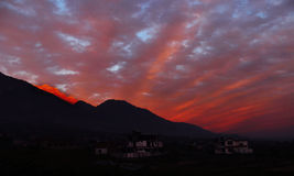 Vibrant sunrise Indian Himalayas Stock Photos