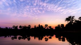 Vibrant sunrise over Angkor Wat royalty free stock images