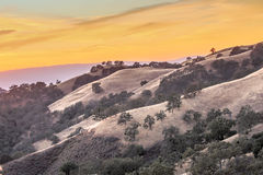 Vibrant Sunset of California Rolling Hills Royalty Free Stock Photo