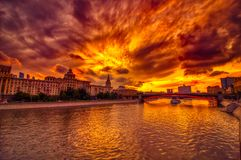Vibrant sunset cityscape. Moscow river landscape with dramatic skies. Heavy HDR processing royalty free stock photo