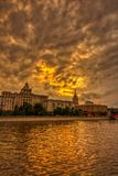 Vibrant sunset cityscape. Moscow river landscape with dramatic skies. Heavy HDR processing stock photos