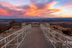A vibrant sunset over the Hassans Wall lookout in Lithgow New So royalty free stock image