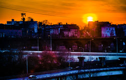 Vibrant sunset over West Philadelphia, Pennsylvania. Stock Photo