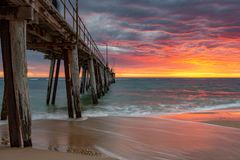A vibrant sunset at the Port Noarlunga Jetty South Australia on 15th April 2019. Vibrant sunset at the Port Noarlunga Jetty South Australia on 15th April 2019 stock photos