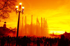 Vibrant sunset skies and fountains,Barcelona Royalty Free Stock Image