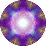 Vibrant Symmetrical Eastern Meditation Mandala. 8 piece symmetrical circular pink purple blue and orange highly detailed mandala with a white central focal point vector illustration