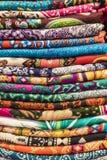 Vibrant Tibetan Textile Colors, Jiuzhaigou, China stock images