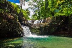 Vibrant Togitogiga falls with swimming hole on Upolu, Samoa. Islands stock photography