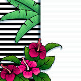 Vibrant tropical banner with hibiscus Stock Photography