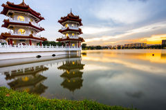 A Vibrant Twin Pagoda at Lakeside Chinese Garden Singapoe stock photos