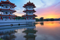 A Vibrant Twin Pagoda at Lakeside Chinese Garden Singapore Royalty Free Stock Photography