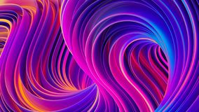 Vibrant twisted shapes in motion 3D abstract liquid ultra violet background Stock Illustration