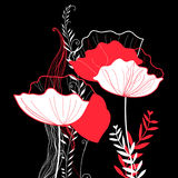 Vibrant vector greeting card with poppies Royalty Free Stock Image