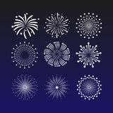 Vibrant vector illustration with fireworks on a dark blue background. Beautiful decoration salute for celebrations. A lot of beautiful fireworks. Bright Royalty Free Stock Photo