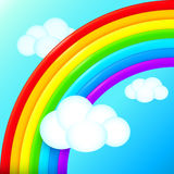 Vibrant vector rainbow in sky with white clouds Stock Photos