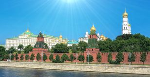 Vibrant view of Red walls of summer Kremlin. In Moscow with nice sun beams stock photos