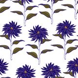 Vibrant Violet Floral Repeat Print Pattern  in Vector royalty free illustration