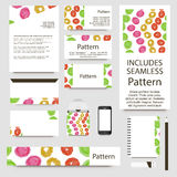 Vibrant watercolor confetti cards collection. Includes seamless pattern. Stock Photos