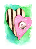 Vibrant watercolor hearts with a button. Stock Image