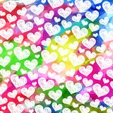 Vibrant Watercolor Ink Love Heart Pattern. A vibrant and colorful watercolor ink love heart pattern Royalty Free Stock Photos