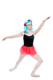 Vibrant Wig Wearing Ballet Girl in Stretch Position Royalty Free Stock Photos