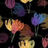 Vibrant Windblown Tulips. royalty free illustration