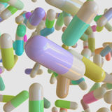 Vibrantly ζωηρόχρωμα χάπια καψών που επιπλέουν στο διάστημα διανυσματική απεικόνιση