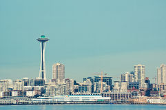 Vibrantly colored picture of seattle space needle Royalty Free Stock Photo