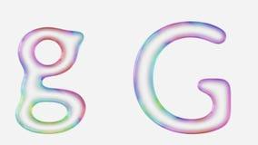 Vibrantly färgrikt övre och lowercaseG framförde genom att använda en bubbla Arkivbilder