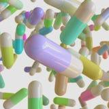 Vibrantly Kolorowe kapsuł pigułki Unosi się w przestrzeni ilustracja wektor