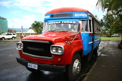 Vibrantly painted bus in Samoa Stock Photo